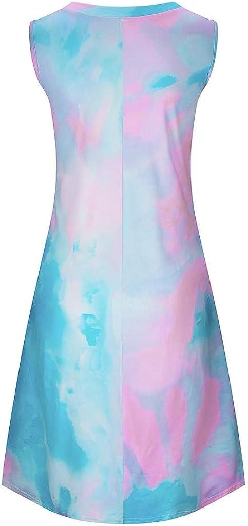 Womens Dresses Summer Sleeveless Tie Dye Vest Mini Dress Casual Gradient Color Block Tank Tops Dress Spaghetti Strap Print T-Shirt Dress Beachwear Cover Up Tunic Beach Sundress