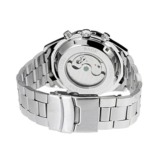 Fanmis Mens Tourbillon Automatic Silver Stainless Steel Calendar Watch