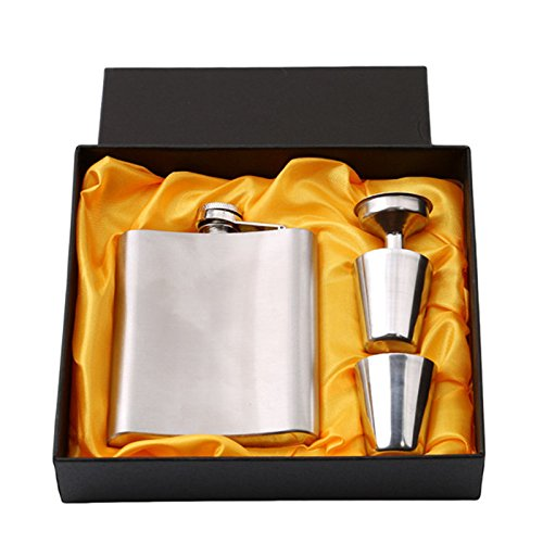 Hip Flask Set - Kalolary Hip Flask Set Portable Stainless Steel Flagon 7 Oz(100% Stainless Steel). 2 Stainless Steel Cup+1Funnel+1Gift Box Included. Best Gif for Father or Husband!