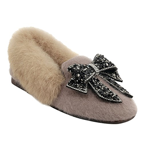 Slip In Ecopelliccia Da Donna Latasa Slip On Winter Flats Beige
