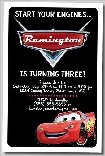 Disney Cars Birthday Party Invitations - Custom Birthday Party Invitation - Lighting McQueen, Cars, Personalized (20 count)