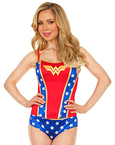 [Wonder Woman Corset W/ All Over Print Panty Set (Large)] (Wonder Woman Red Corset)