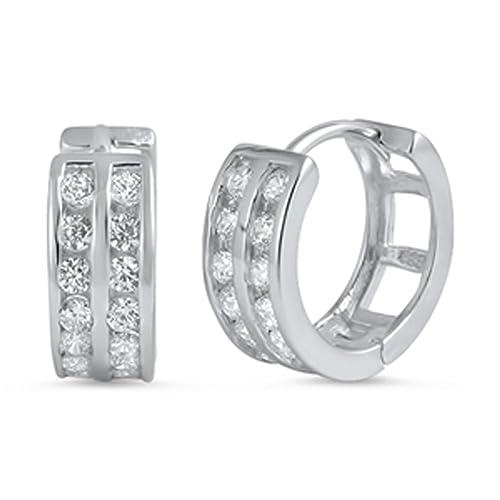 Huggie Hoop Earrings Clear Simulated CZ .925 Sterling Silver