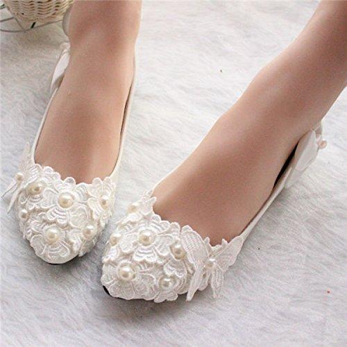 blanc,Flat UK2 EU35 US4 AU4 JINGXINSTORE femmes à la main Pearl blanc Lace Bridal chaussures de mariage