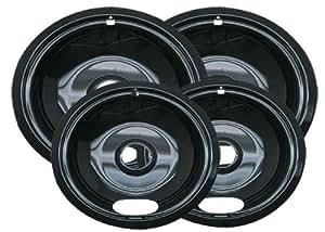 Range Kleen Style A P10124XN Porcelain Drip Pans 2 Nos. 6-Inch. & 2 Nos. 8-Inch. - Black (Set of 4)