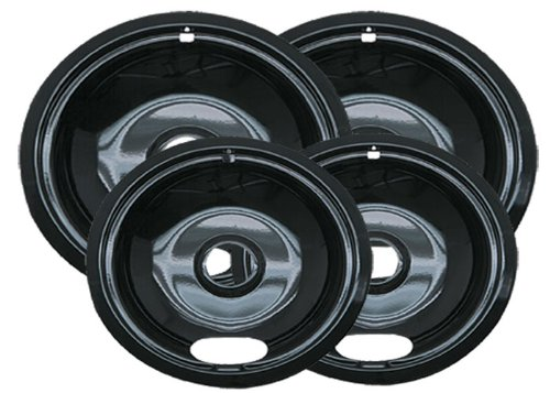 4 Porcelain Electric Stove Replacement Drip Pans Set Bowls