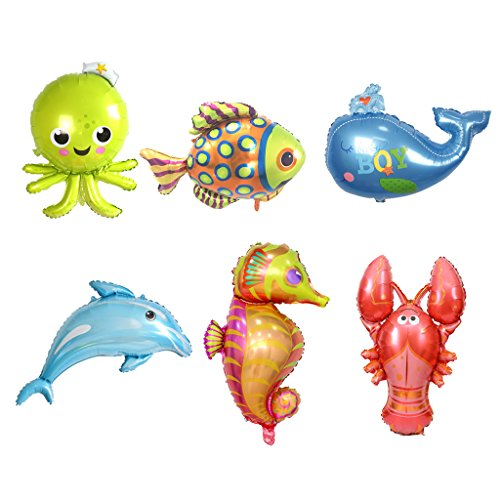 (Homyl Pack of 6 Lovely Sea Animal Foil Balloon Dolphin Octopus Lobster Whale Fish Party)