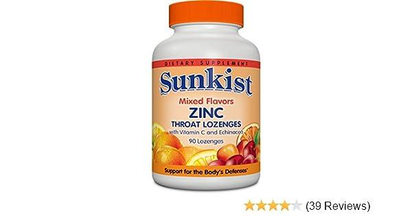Amazon Com Sunkist Zinc Throat Lozenges With Vitamin C And
