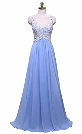 Yinyyinhs Womens Lace Appliques Chiffon Long Formal Evening Prom Dress Size 2 Blue