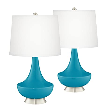Gillan Caribbean Blue Sea 28 High Glass Table Lamp Set Of 2
