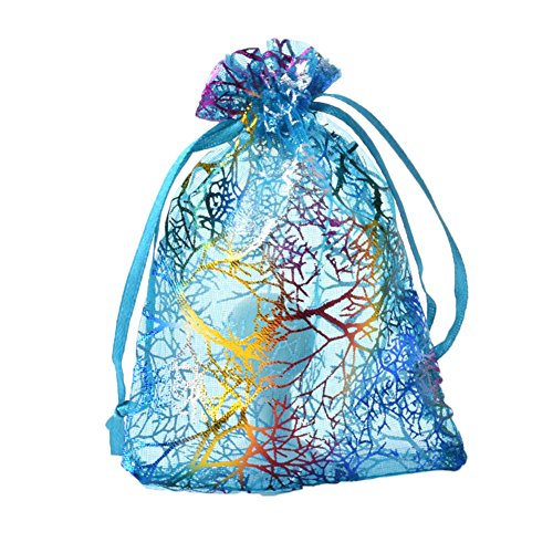 Bueer 100pc Coralline Organza Jewelry Pouch with Drawstring For Wedding Bridal Shower Bachelorette Party Avoid Hangover Kit Gift Favor Bag (Blue Coralline)
