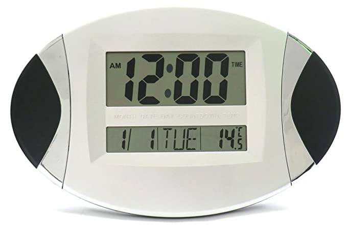 RELOJ DIGITAL LCD OVALADO NEGRO MULTIFUNCIONAL PARA PARED O MESA-IDEA REGALO: Amazon.es: Relojes