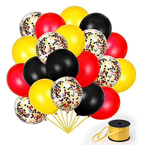 Disney Cars Balloons (70Pack Red Black Yeloow Balloons, 12 Inch Red Black Yellow Latex Balloons Premium Helium Quality Sequins Balloon For Party Supplies and Decorations(With Yellow)