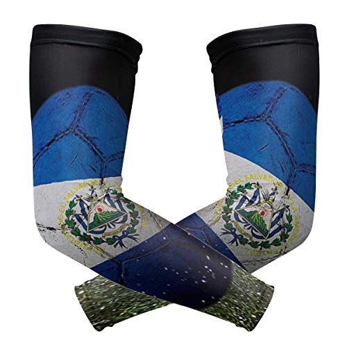 Cooling Warmer Arm Sleeves for Men Women Flag Of El Salvador Golf UV Protection Sunblock Gloves Running Cycling Driving Long Tattoo Cover for Basketball Baseball