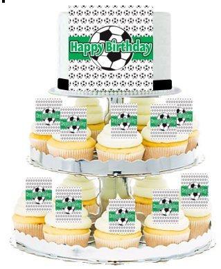 Soccer CascadingCupcake Edible Photo & Edible Cupcake Decoration Toppers by CakeSupplyShop