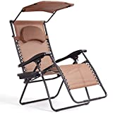 Goplus Folding Zero Gravity Lounge Chair Wide Recliner for Outdoor Beach Patio Pool w/Shade Canopy (Coffee Zero Gravity Chair)