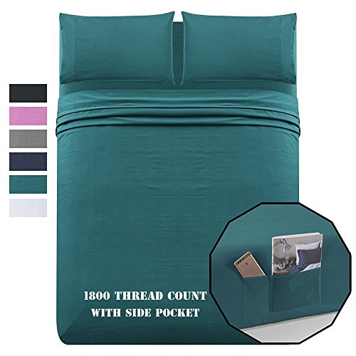 Luxe Manor Bed Sheet Set Queen 1800 Theard Count 4pc – Soft Brushed Microfiber Flat Fitted Sheet Side Pockets & Pillow Case Set – Deep Pocket Wrinkle Free Bedding,Teal
