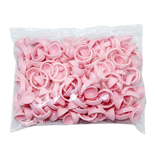 100PCS Pink Disposable Plastic Nail Art Tattoo Glue Rings Holder Eyelash Extension Rings Adhesive Pigment Holders Finger Hand Beauty Tools (Pink)