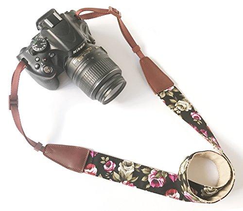 Camera Neck Shoulder Belt Strap,Alled Leather Vintage Print Soft Camera Straps for Women/Men for DSLR/SLR/Nikon/Canon/Sony/Olympus/Samsung/Pentax/Fujifilm (LeatherBlackPrint)