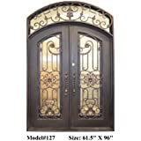 Valencia 61 ½ In. X 96 In. Wrought Iron Entry Double Doors Eyebrow Arch Top  In Swing Right Handed In Dark Bronze Includes Operable Euro Rain Glass, ...