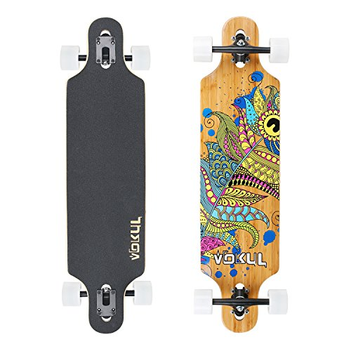 VOKUL Complete Longboard Skateboard Cruiser with 7-Ply Maple Wood and 1 Layer Bamboo Deck for Kids Youth Adults (Phoenix)