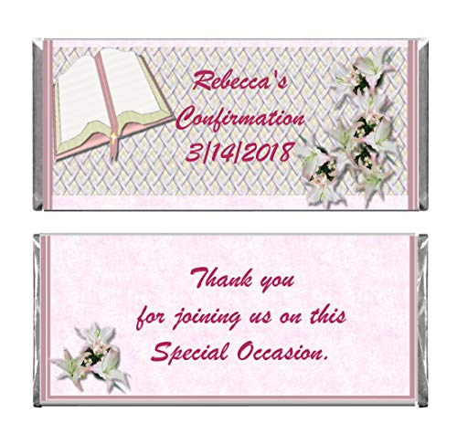Pink Personalized Chocolate - Pink Girl Baptism Confirmation First Communion Personalized Custom Wrappers & Foils for Chocolate Candy Bars (25)