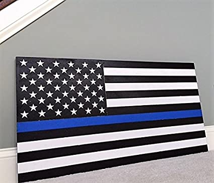 36 x 19 large hand crafted thin blue line wood american flag honoring