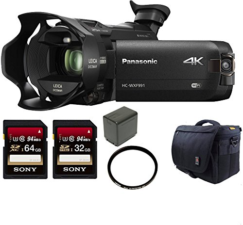 Panasonic HC-WXF991K 4K Ultra HD Camcorder w/ Wasabi VBT380 (3880mAh) + 128GB U3 by Panasonic