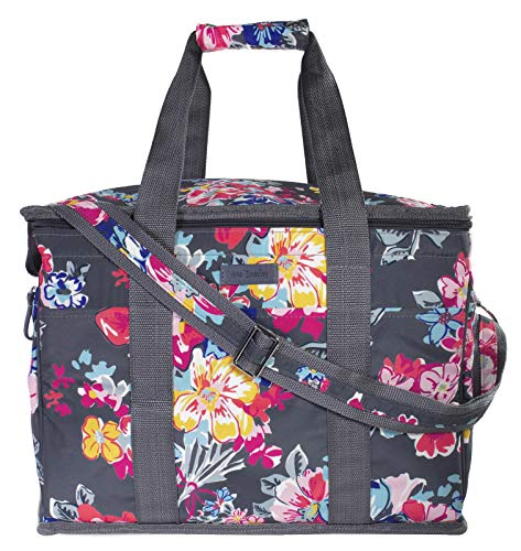 Vera Bradley Insulated Travel Soft Sided Collapsible Cooler Bag with Handles | Adjustable Shoulder Strap | Beach Tote Bag | Travel Friendly | Leak Resistant Cooler | Pretty Posies