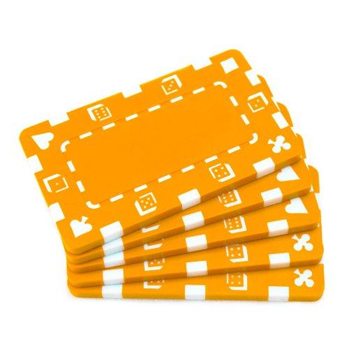 Brybelly 5 Rectangular Poker Chips - European Style Plaque (Orange)