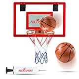 Mini Basketball Hoop - For Home or Office - Hangs on Any Door - Spring-action Breakaway Steel Rim for Real Slam Dunks - Use for Sports, Fun & Exercise - Includes Pro-Mini Basketball and Air Pump.