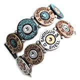 Mixed Metal (Silver, Brass, and Patina) Western Shotgun Shell Bracelet from the WYO-HORSE Jewelry Collection (Patina)
