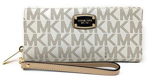 Michael Kors Jet Set Item Travel Continental Wallet Clutch Wristlet (PVC Vanilla) by Michael Kors