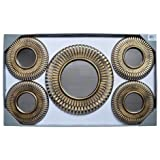 Set of 5 Antique Gold Round Decorative Wall Display Large 15'' and Small 10'' Mirror Set