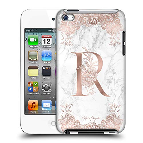 Official Nature Magick Letter R Rose Gold Marble Monogram 2 Hard Back Case Compatible for Apple iPod Touch 4G 4th Gen (Ipod Touch 4 Case Roses)
