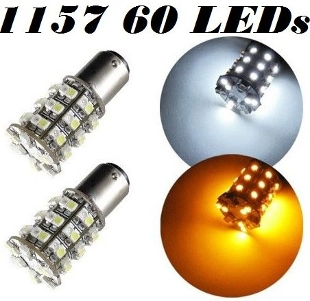 Zone Tech White/Amber 60-SMD Dual Color 1157 7528 2357 Switchback LED Bulbs For Turn Signal Parking Lights