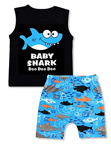Baby Boy Clothes Baby Shark Doo Doo Doo Print Summer Cotton Sleeveless Outfits Set Tops + Short Pants 12-18 Months -