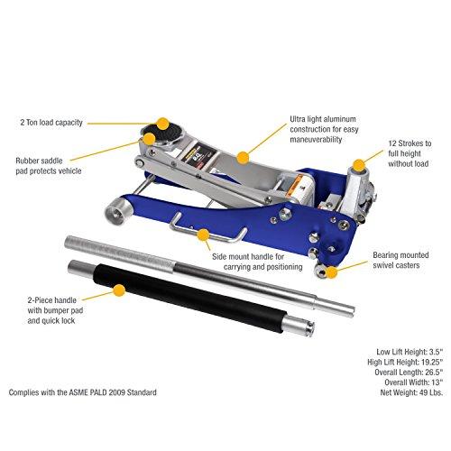 Arcan Alj2t Aluminum Floor Jack 2 Ton Capacity Import
