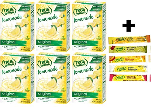 True Lemon Lemonade Drink Mix, 10-count (Pack of 6) plus 5 sample sticks of Black Cherry Limeade, Peach Lemonade, Mango Orange, Raspberry Lemonade, & Lemon Lemonade