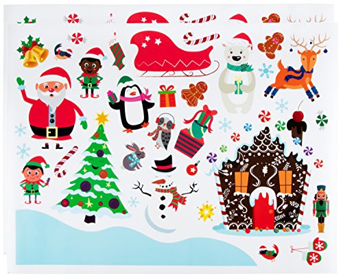 Juvale Christmas Wall Stickers - 70 Pack Festive Holiday Theme Wall Decals, Peel & Stick Removable Holiday Decoration Stickers for Home, Windows, Doors, Glass, Includes Santa, Snowman, Elves