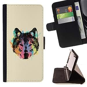 - Neon Wolf Face - - Prima caja de la PU billetera de cuero con ranuras para tarjetas, efectivo desmontable correa para l Funny HouseFOR LG OPTIMUS L90