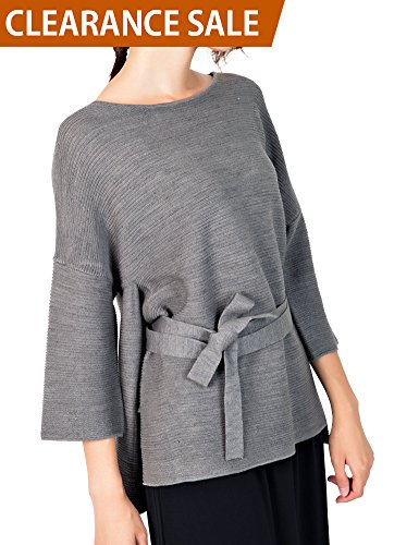 Li & Zi Wool Blend Belted Sweaters for Women - Side Slit Pullover (Grey, (Belted Ribbed Sweater)