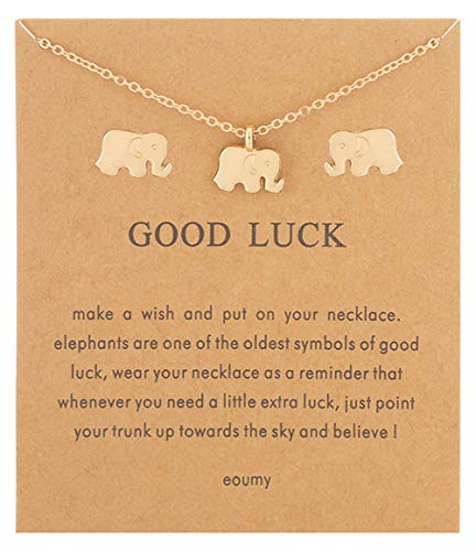 Eoumy Elephant Pendant Necklace - Gold Elephant Necklace Earrings - Elephant Earrings Necklace Set for Women