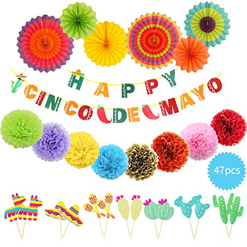 Let'S 47pcs Fiesta Party Supplies| Happy Cinco de Mayo Banner | Colorful Paper Flowers| Hanging Paper Fans| Mexican Themed Caketoppers| Baby Shower Birthday Decorations ()