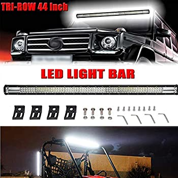 44Inch Tri-Row Led Light Bar 648w 64,800LM 7D Spot Flood Combo Beam for Off Road/Fog Light/Driving Light Jeep 4WD ATV SUV AWD 4x4 RZR Boat