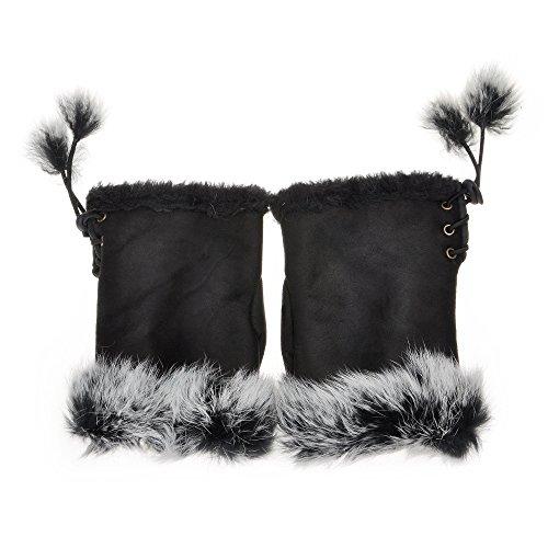 Womens Teens Winter Warm Rabbit Fur Hand Fingerless Gloves Mittens by ZLYC (Black)
