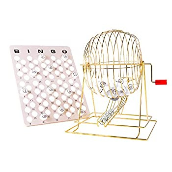 Image of MR CHIPS Professional Bingo Cage Set (19' High) with Ping Pong Balls Matte Finish Single Side Printed & Masterboard - Extra Large - Brass Plated Cage with Handle Bingo Sets