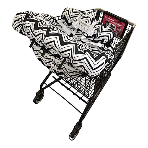 Shopping Cart Cover For Baby- 2-in-1 - Foldable Portable Seat with Bag for Infant to Toddler - Compatible with Grocery Cart Seat and High Chair - Boy/Girl Design - Compact and Cushy by MurphyFine