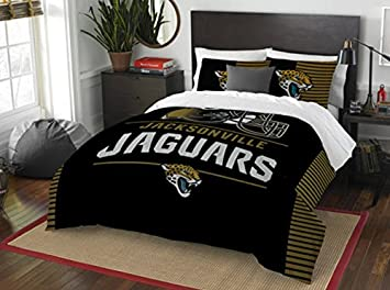 Jacksonville Jaguars Comforter Set Bedding Shams NFL 3 Piece Full Queen  Size 1 Comforter 2