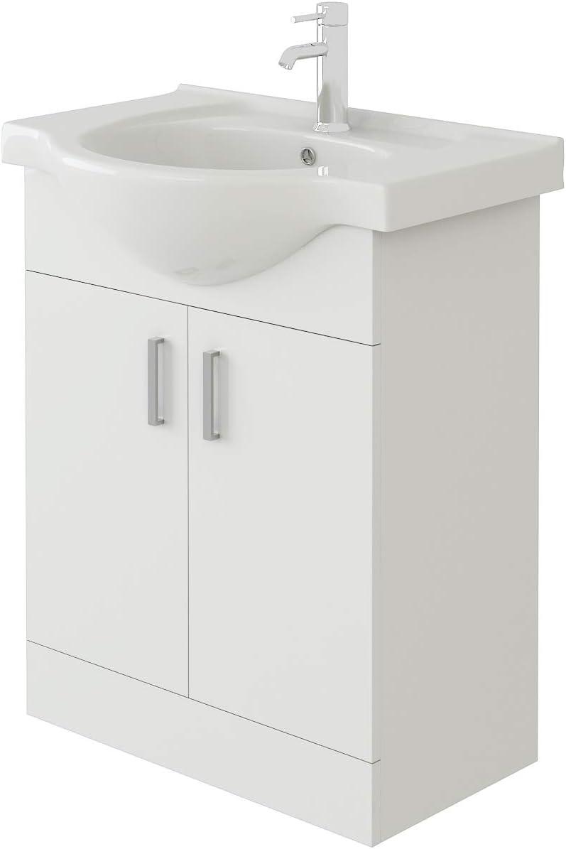 VeeBath Linx Bathroom Vanity Basin Sink Cabinet Unit High Gloss White Soft Close Door Hinges Storage Furniture - 650mm